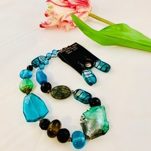 Jewelry - Semi Precious Blown Glass Stone Necklace Earrings
